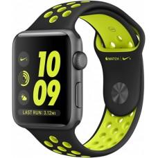 Часы Apple Watch Nike+ 42mm, ремешок Nike цвета  чёрный / салатовый»
