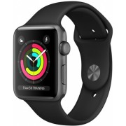 Часы Apple Watch Sport 38mm series 3, спортивный ремешок черного цвета