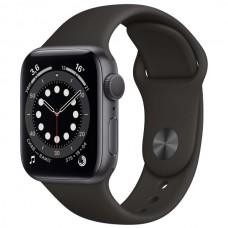 Часы Apple Watch Sport 44mm series 6, спортивный ремешок черного цвета