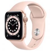 Часы Apple Watch Sport 40mm series 6, спортивный ремешок золотого цвета