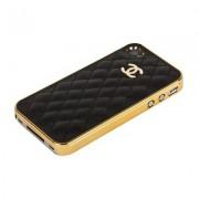Накладка CHANEL для iPhone 4s/ 4 золотая+черная кожа Miaget