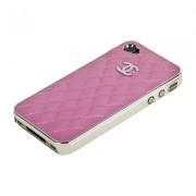 Накладка CHANEL для iPhone 4s/ 4 серебро+розовая кожа Miaget