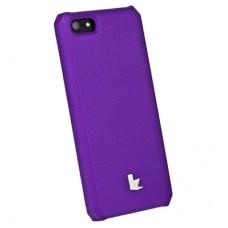 Накладка кожаная Jisoncase для iPhone 5S/5 (фиолетовый)