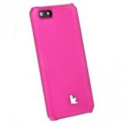 Накладка кожаная Jisoncase для iPhone 5S/5 (ярко-розовый)